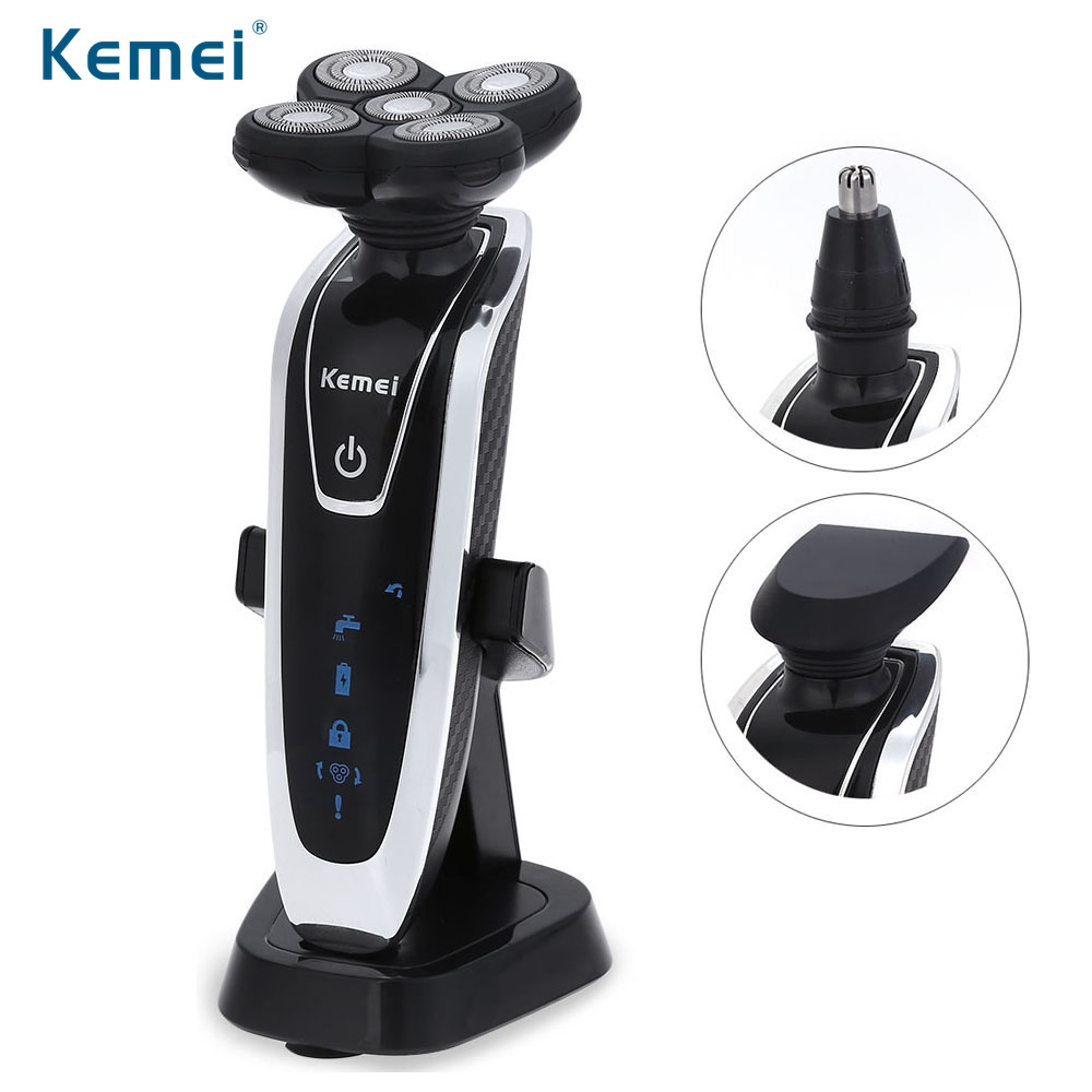 Kemei KM-5886 3 in 1 Men's 5D Floating Electric Shaver Rechargeable Washable 5 Blade Shaving Razor with Beard Nose Hair Trimmer low noise dry wet electric shaver three blade independent floating head hair shaving machine powerful beard cutter razor trimmer