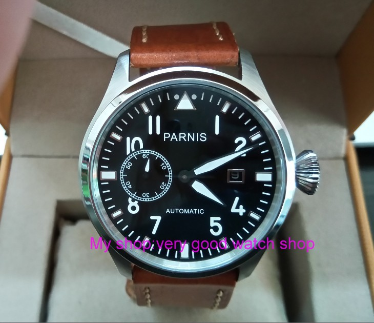 47mm big pilot PARNIS Black dial Automatic Self-Wind movement Auto Date men watches lumi ...