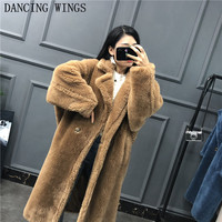 Зимнее пальто с натуральным мехом плюшевый мишка коричневый флис куртки Женская мода костюм воротник Альпака толстое теплое длинное парка