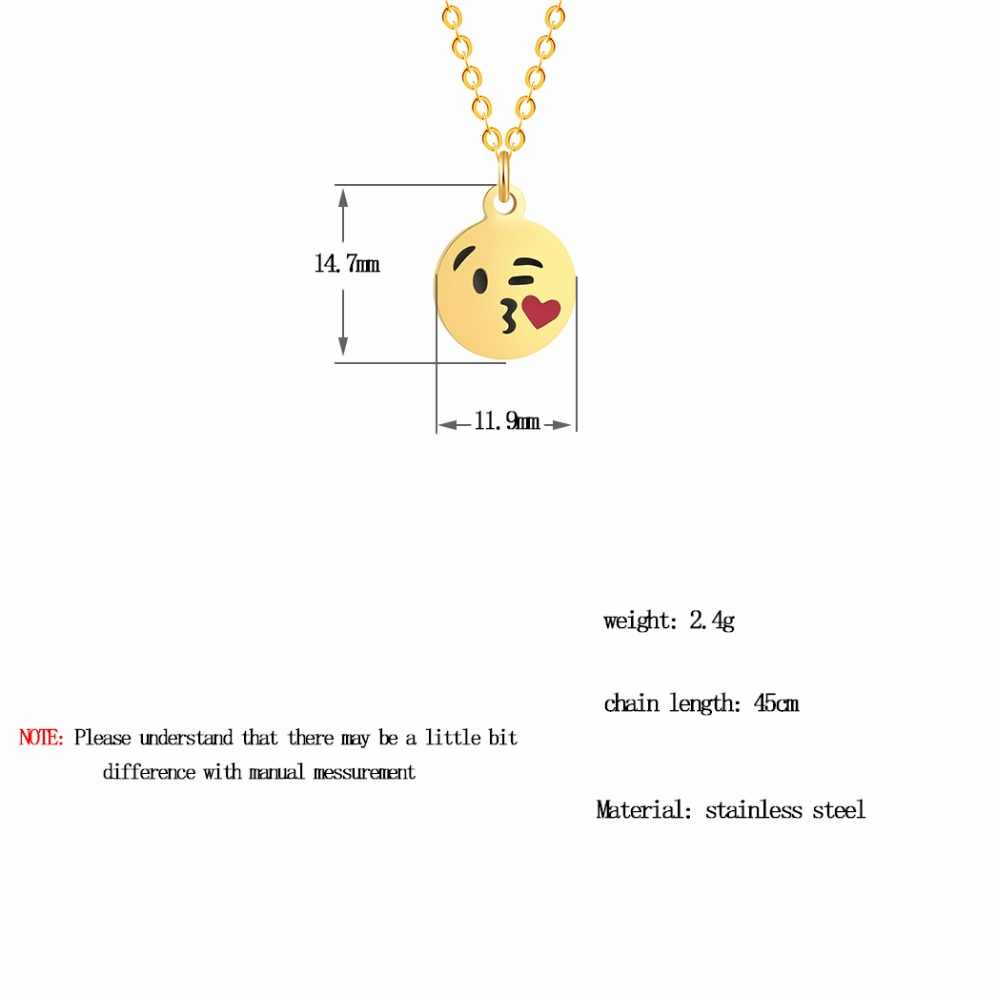 QIAMNI Cartoon Love Heart Kiss Emoji Necklace & Pendant for Women Round Expression Love Choker Collars Handmade Jewelry Gifts