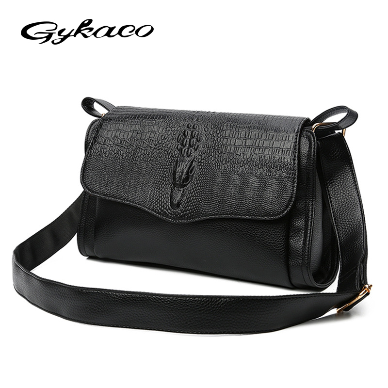Gykaeo Women Messenger Bags 2017 Winter New Female Crocodile Pattern Shoulder Bag Ladies PU Leather Fashion Casual Messenger Bag