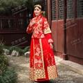 2016 Китайский Стиль Высокая Шея Длинные Рукава Две Пьесы Золото Вышивка Красный Cheongsam Свадебные Платья Vestidos de Novia GF301