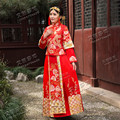 2016 Chinese Style High Neck Long Sleeves Two Pieces Gold  Embroidery Red Cheongsam Wedding Dresses Vestidos de Novia GF301