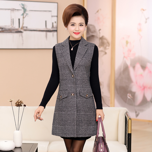 Plus Size 5XL Elegant Fashion Mom's Vest Long Red Women's Sleeveless Jacket Cotton Women's Vest Feminine Coat Long Waistcoat 4