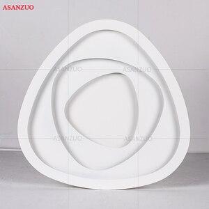 Image 5 - Plafonnier triangulaire au design créatif avec télécommande, luminaire de plafond, idéal pour un salon, une chambre à coucher, un couloir, un balcon, LED