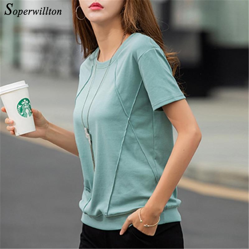 Slim Short Sleeve Women's Shirts 2019 Summer Female T-Shirt Blue Green White Casual T Shirt Ladies Tops Soft Cotton Tee Shirt