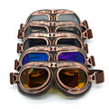Pop Harley Style Copper ABS Frame Motorcycle Goggles Motorbike Steampunk Half Helmet Flight Eyewear Glasses