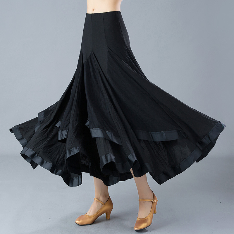 Adult Ballroom Dancing Skirt Black Flamenco Skirts Women Waltz Dancing Suit Standard Dance Costumes Standard Dance