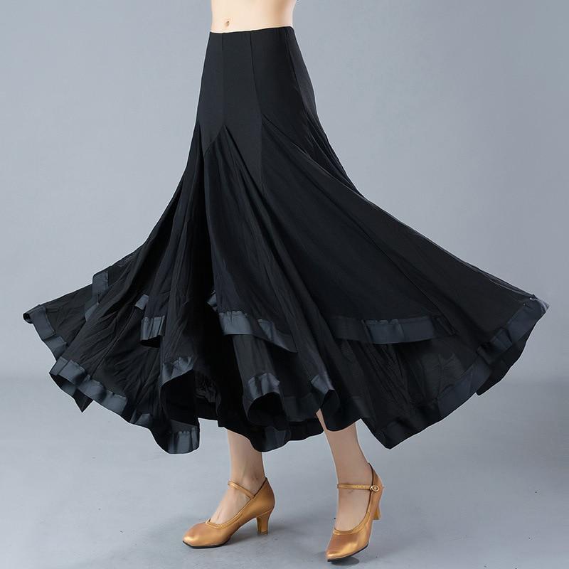 Adult Ballroom Dancing Skirt Black Flamenco Skirts Women Waltz Dancing Suit Standard Dance Costumes Standard Dance Wear D0797