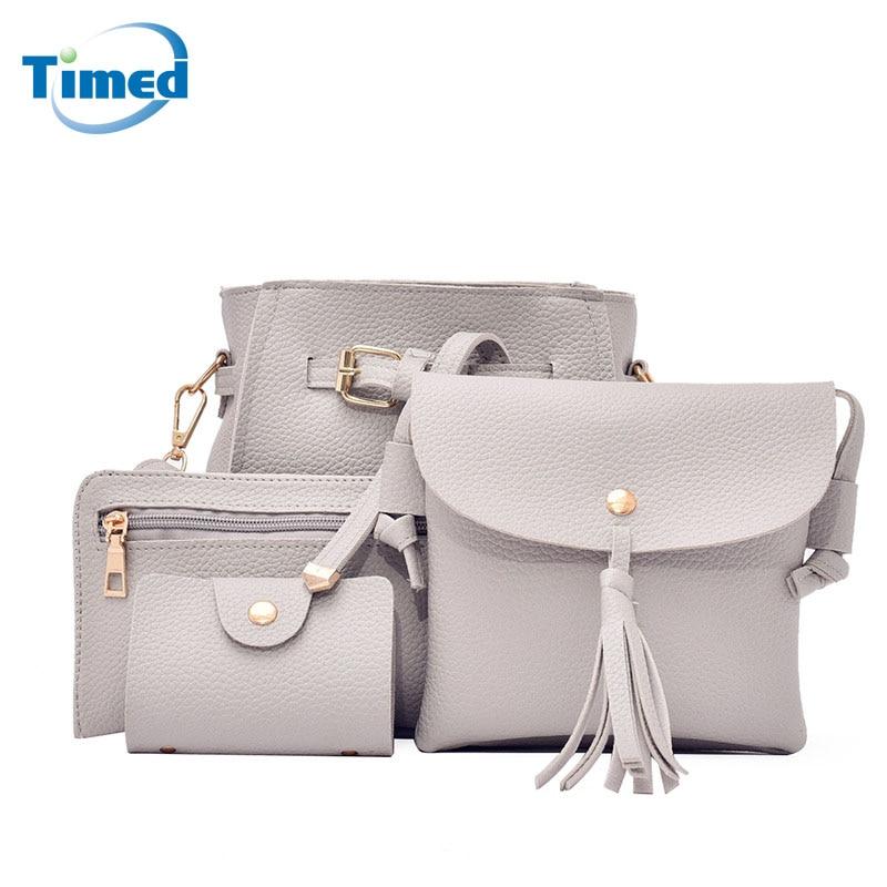 2017 New Women s Composite Bag Solid Casual Bucket Bag 4 Sets Tassel Shoulder Bag High
