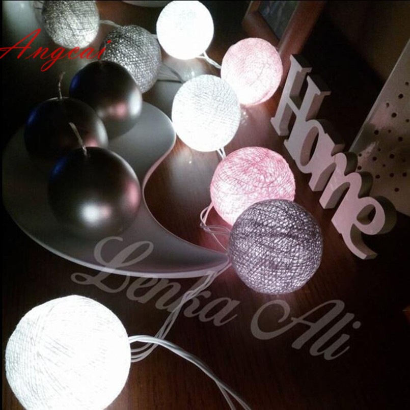 Mixed 20pcs/set White-Pink-Gray Cotton Ball String Lights For Patio,Wedding,Party Luminaria Christmas Natal Garland Decor USB