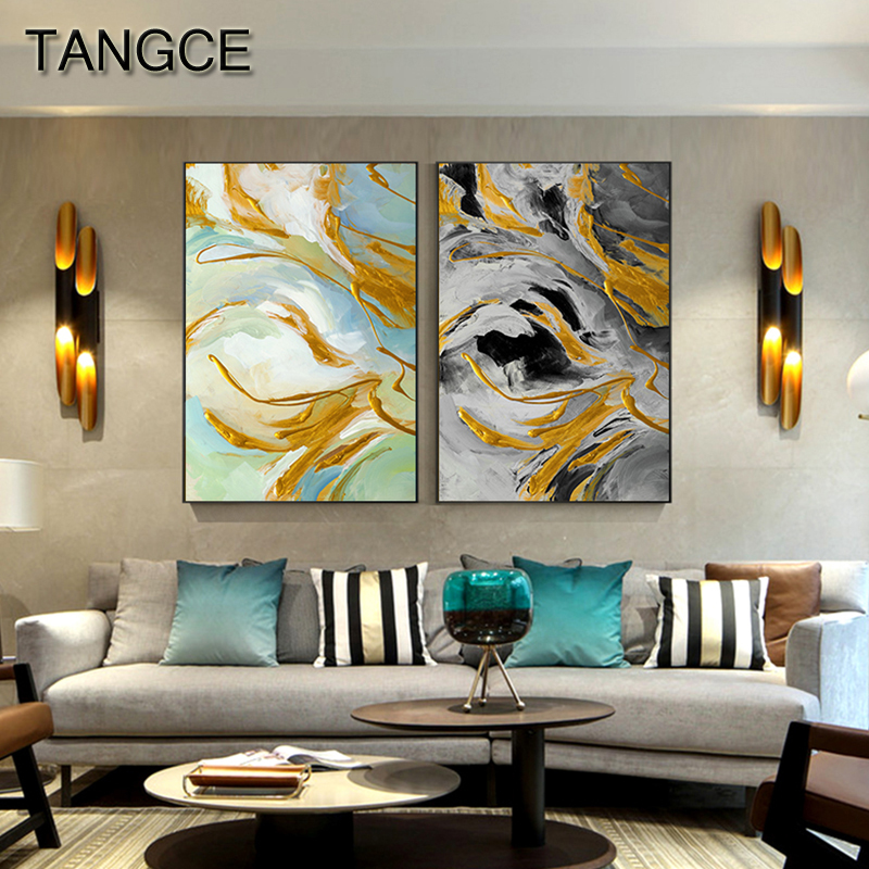 Abstract Flowing Golden Canvas Painting Modern Tableau Poster Print Big Wall Art for Living Room Entrance Picture Cuadros Salon