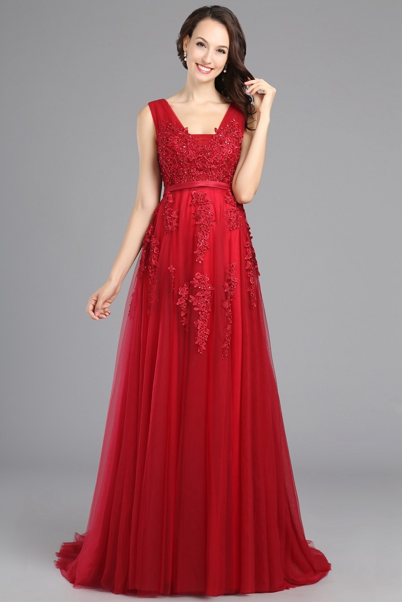 Red Pink Beaded Lace Appliques Long Gown For Wedding Host