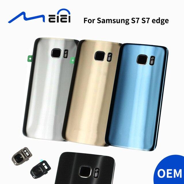OEM אחת לוגו חזור סוללה כיסוי דלת אחורי זכוכית שיכון מקרה + פלאש אור + עדשת מצלמה עבור S7 S7 קצה G930F G935F עם כלים