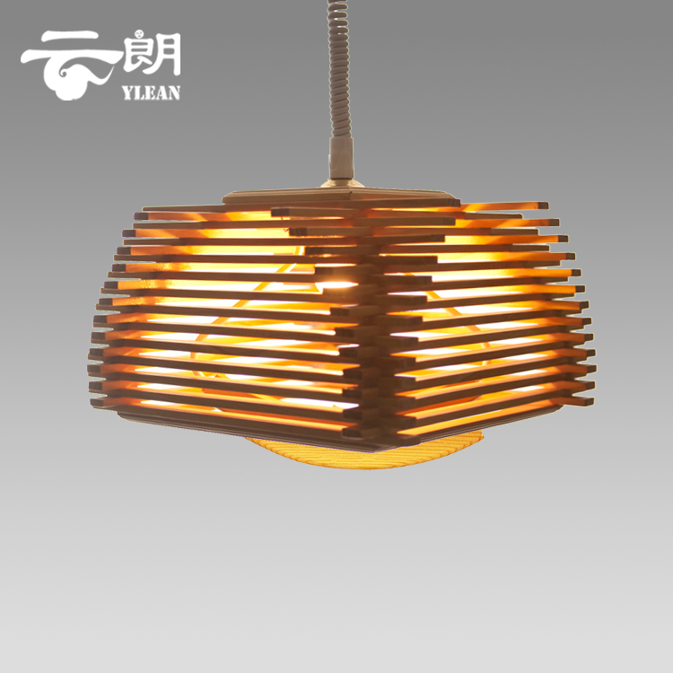 Modern Wood Bird Cage Pendant Light 37*37*22cm Bedroom E27 110-240V