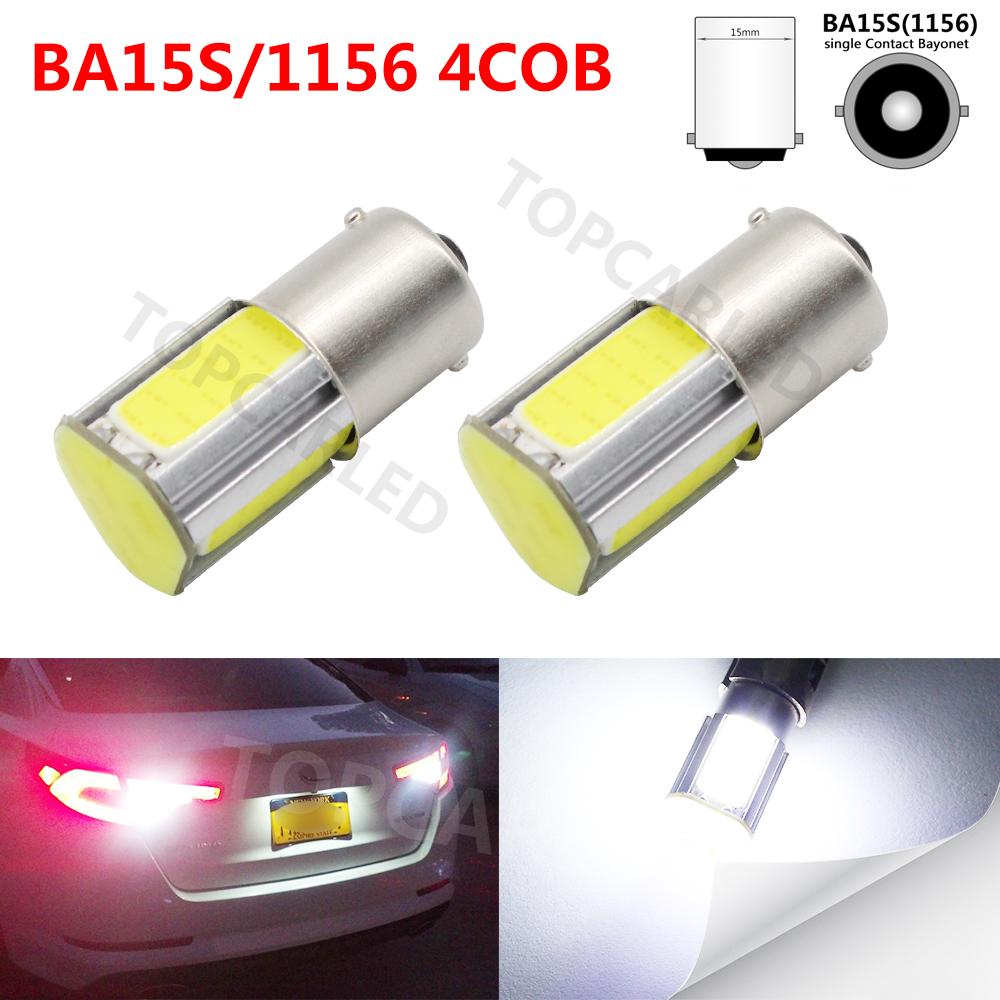2X Auto P21W COB 1156 BA15S 4 COB LED Car R5W S25 Turn Signal Light Xenon Lamp Reverse Light Backup Tail External Light Source 1156 ba15s p21w xenon led light 80smd auto car xenon lamp tail turn signal reverse bulb light free shipping