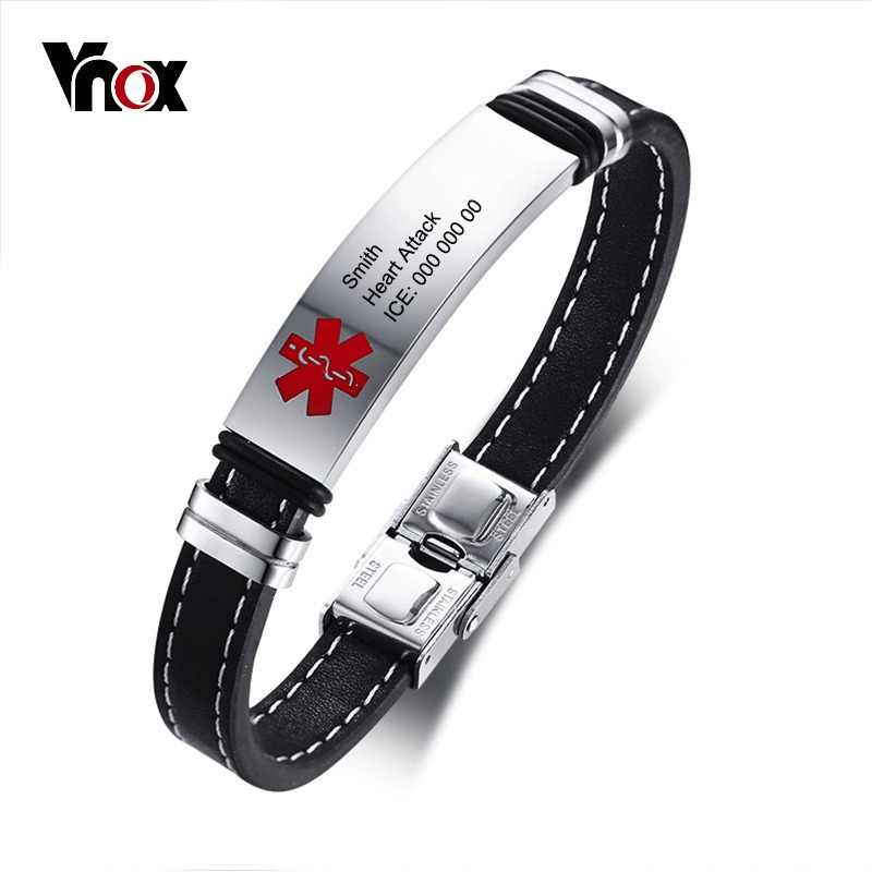 Vnox Personlized Medical Alert ID Bracelet for Men Stainless Steel Identification Tag Genuine Leather Emergency Male Jewelry