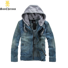 High Quality Big Size Denim Jacket Men Casual Zip Jacket Hooded Male Jackte Comfortable Cowboy Jacket Size M-5XL(China)