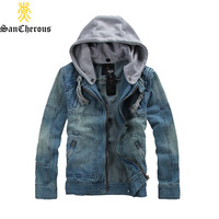 High Quality Big Size Denim Jacket Men Casual Zip Jacket Hooded Male Jackte Comfortable Cowboy Jacket