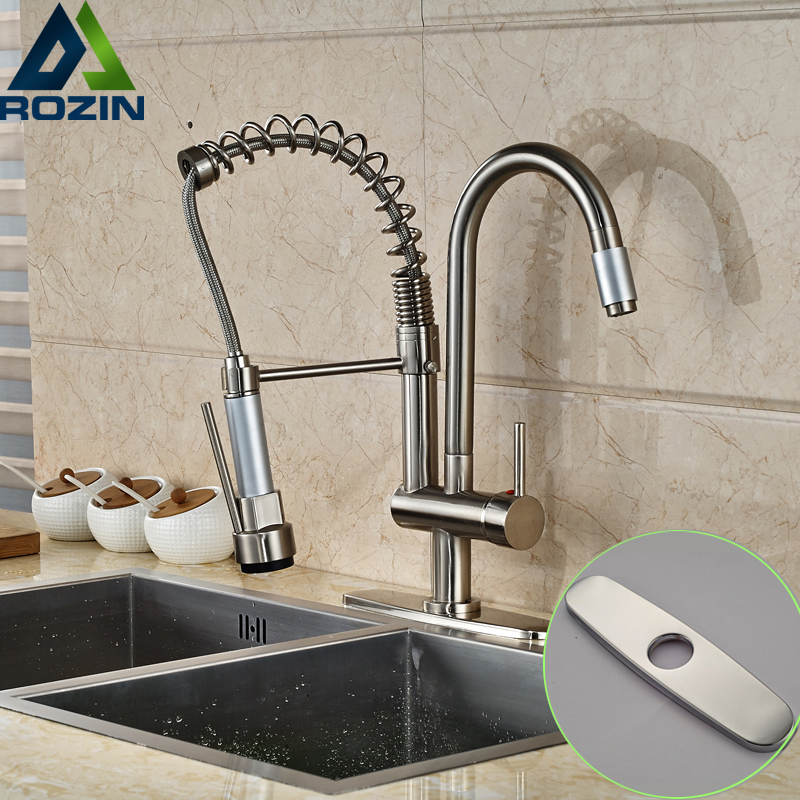 Good Quality Swivel Spout Kitchen Faucet Deck Mount One Hole Brushed Nickel Kitchen Mixers with Hot
