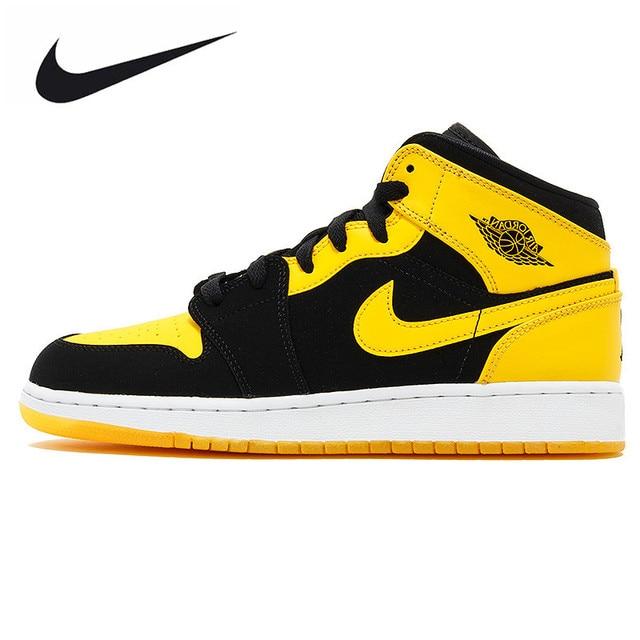 1a6331992c4b88 ... best price nike air jordan 1 mid aj1 black yellow joe mens basketball  shoes sneakers original