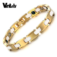 Vinterly Chain Bracelet Gold colo Korea Design Health Energy Bio Magnetic Germanium Carbide Tungsten Bracelets Bangles for Women