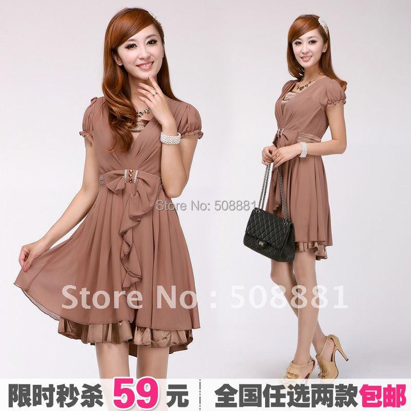 eeefe89fdb7d 2016 Fashion women dress Summer Chiffon short sleeve bohemia woman slim ol  dress for lady plus size M