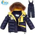 Kids Clothes Boys Winter  Luxury Brand 1-5 Age Children Jackets Two-Piece Set Warm Fur Down fur Outerwear+Trousers Ski Suit 0149