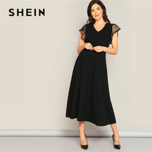 SHEIN Black Classy Dot Mesh Armhole Fit And Flare Summer Dress Women 2019 Elegant Solid V Neck High Waist Maxi Dress Party Dress