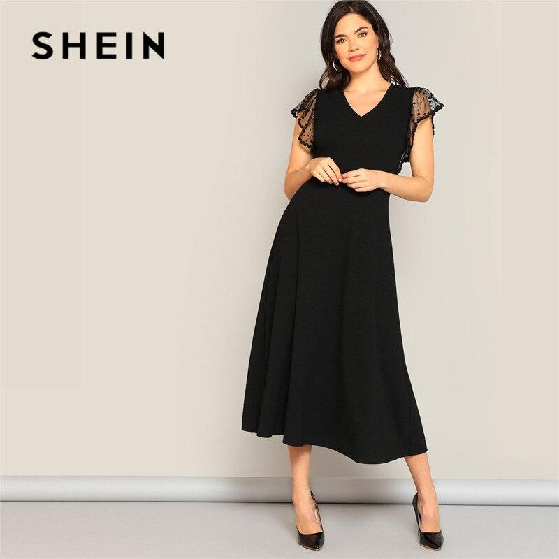 Gran Oferta Shein Negro Elegante De Malla De Lunares En Armhole Ajuste Y Flare Vestido De Verano De