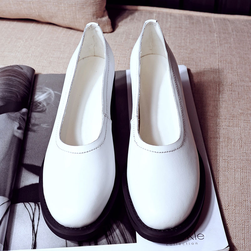 ФОТО Shoes Woman Round Toe Women Pumps Elegant Ladies Shoes brand Spring Autumn 2016 Footwear Genuine Leather Women Pumps