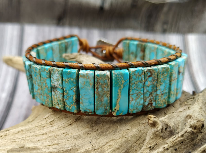 YA3850 Boho Jewelry Sediment Jaspers Stone Beads Wrap Bracelet 17CM long bracelet