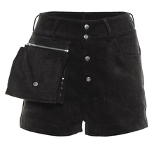Women High Waist Shorts Solid Color Button Shorts Ladies Hot Trousers Womens Streetwear Beach Pocket High Waist Short Trousers high waist thin flower print womens shorts