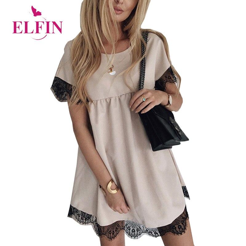 Women Summer Dress 2019 Lace Party Dresses Office Lady Mini Short Sleeve Casual Sundress Elegant Vestidos Korean Clothes SJ3195R