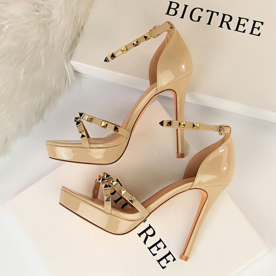 2019 Women Buckle Ankle Strap Rivet Sandals Open-Toe High Heels Stiletto Shoes