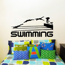 Swimming Quotes Sport Series Art Wall Stickers Swim Athletes Jumping Silhouettes Special Designed Decals Mural W-474