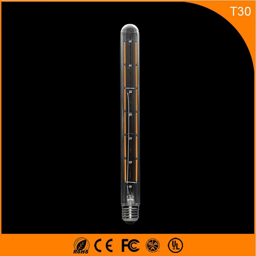 50 шт. E27 B22 СВЕТОДИОДНАЯ лампа 8 Вт Винтаж лампа Эдисона, t30 COB нити свет Ретро Лампа AC 220 В