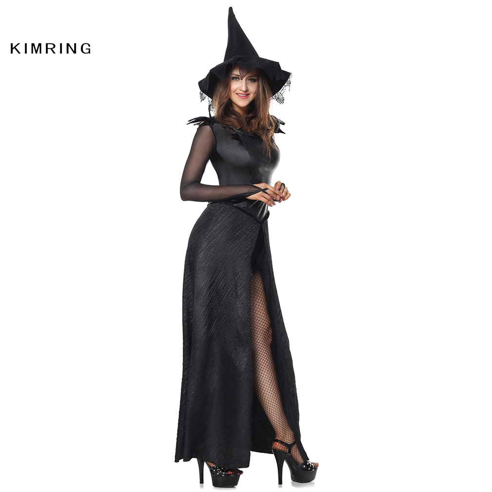2e0b2bb5a5d Kimring Sexy Witch Halloween Costume Adult Womens Magic Moment Costume  Ecstasy Black Halloween Costume Fancy Dress on Aliexpress.com