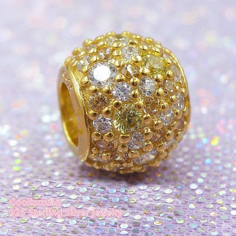 2018 Spring Authentic 925 Sterling Silver Golden Mix Pave Charm, Multi-Colored CZ Charm Beads Fit Pandora Charms Bracelet Diy