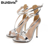 New Lady Fashion Cross With High Heels Sexy Silver Sandals High Quality Women Pump Gladiator Shoes
