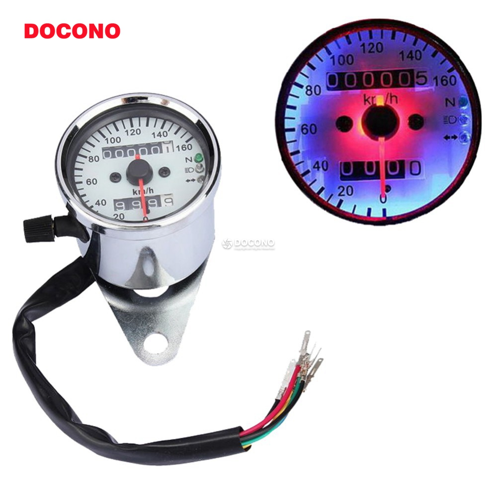 Silver Shell LED Backlight Motorcycle Dual Odometer Speedometer Gauge Cafe Racer