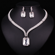 Fashion Rhinestone Crystal Necklace Earrings Set Wedding Bridal Bridesmaid Jewelry Sets For Party Costume Accessories Decoration
