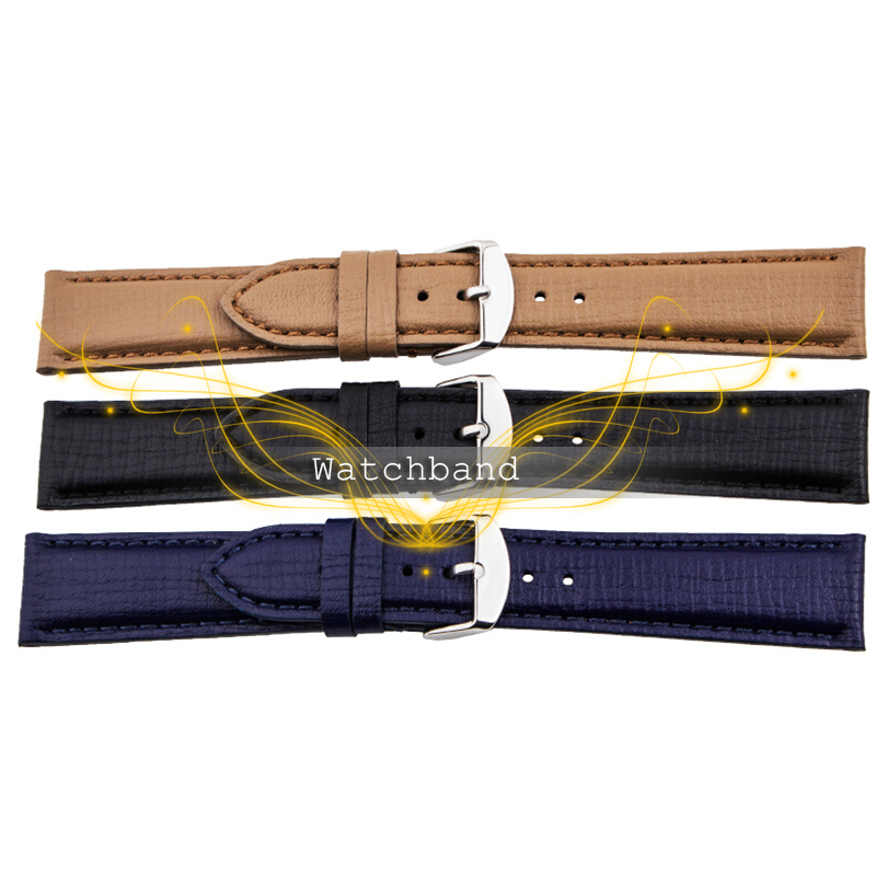 Leisure Business High Quality Durable Fashion 20 22mm Brown Blue Black Grain Style Leather Watch Band