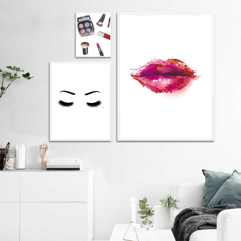 Fashion Red Lip Eye Shadows Makeup Wall Art Canvas Painting Nordic Posters And Prints Wall Pictures For Living Room Salon Decor