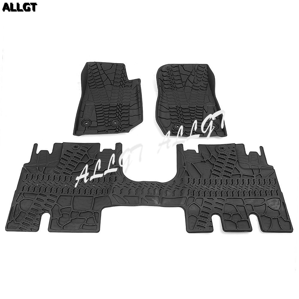 For Jeep Wrangler JK 2014 2015 2016 2017 2018 All Weather Rubber Slush Floor Mats Set All Weather, 3 Pieces