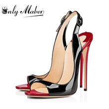 Onlymaker Women's Peep Toe Sandals Ladies Shoes 12cm Heels Open Toe Sexy Slingback Office Fashion Pumps Plus Size US5~US15