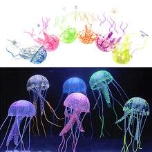 """5,"""" светящийся эффект искусственные флуоресцентные Медузы аквариумные рыбки акварио Подводное украшение аксессуар"""
