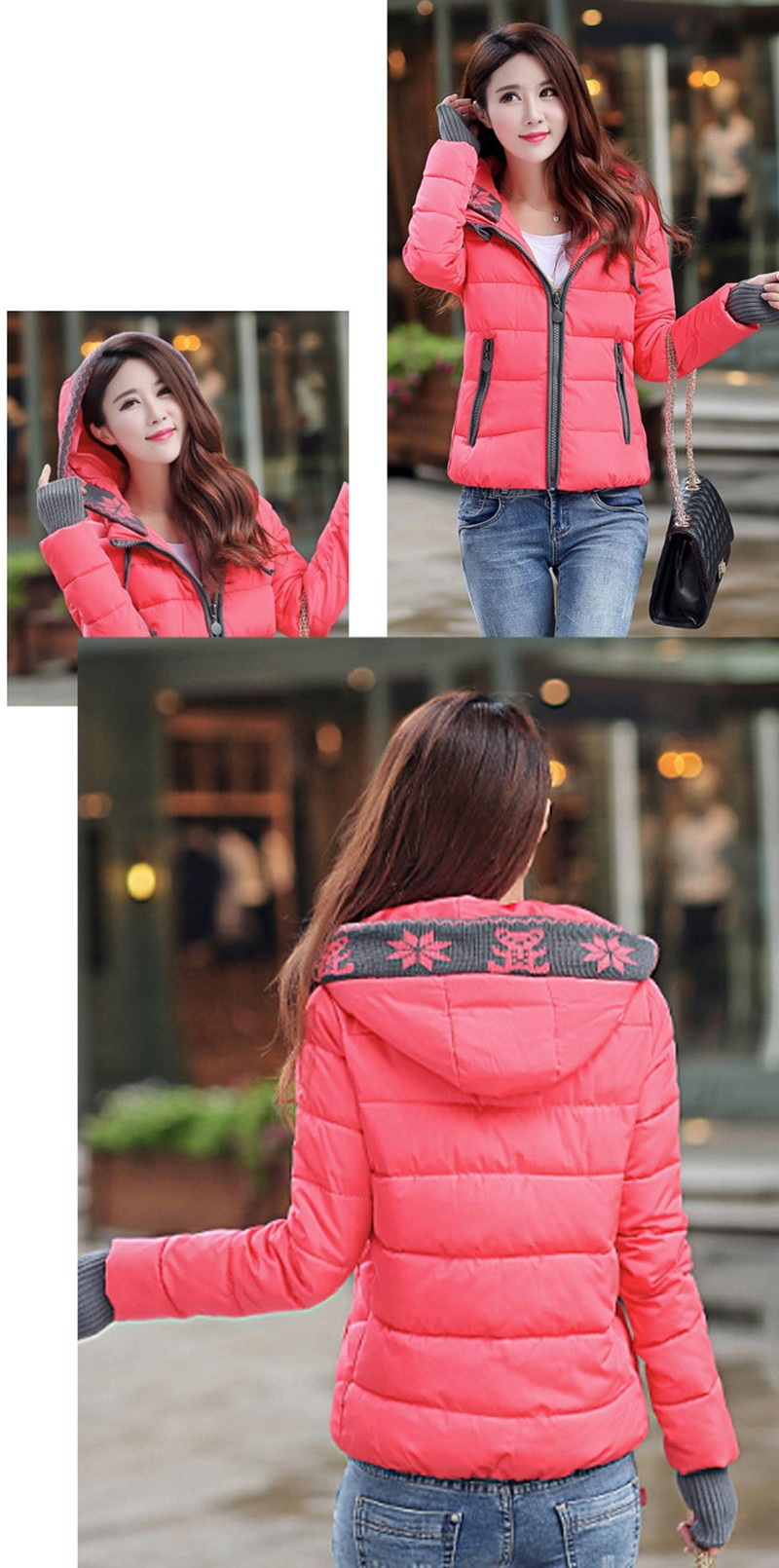 Women Winter Coat Long Sleeve Print Floral Hooded Slim Winter Parka Plus Size Cotton-Padded Jackets 2XL (7)