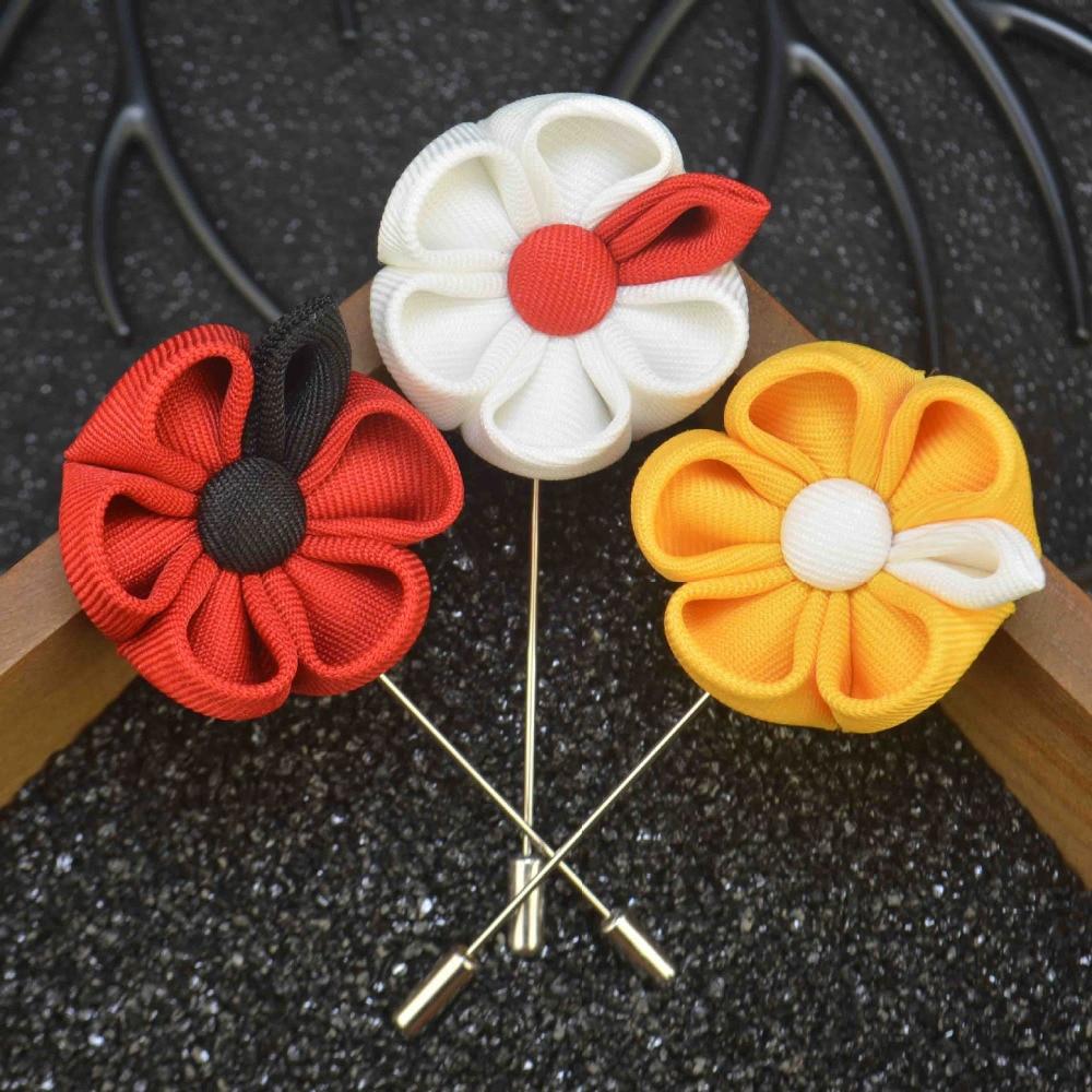 Mens jacket brooch - Fashion Lapel Flower Pin Brooches For Men Suits Multi Color Men Wedding Flower Corsage Jacket Lapel