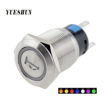 цена на 19mm Blue RED Led Car Boat Horn switches  Metal Momentary Self-reset Push button switch
